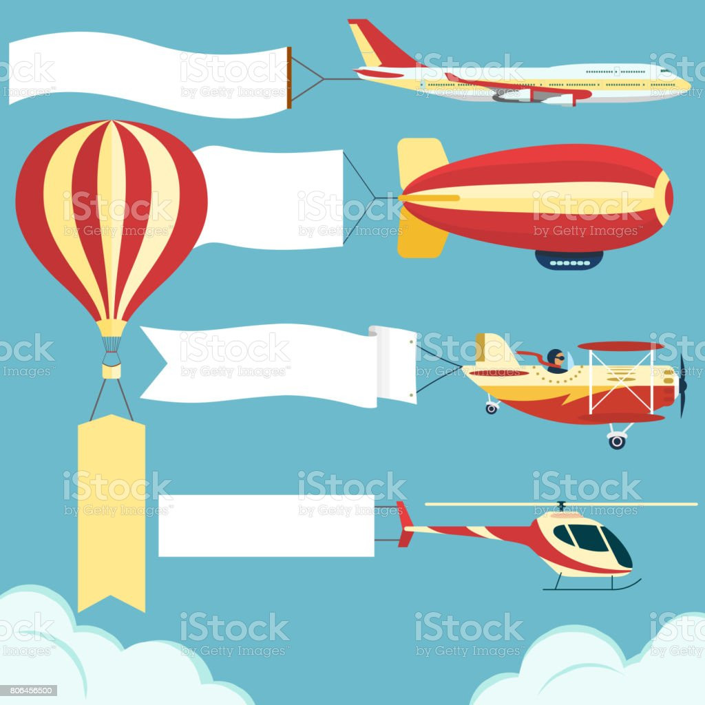 Airplane with poster vector art illustration