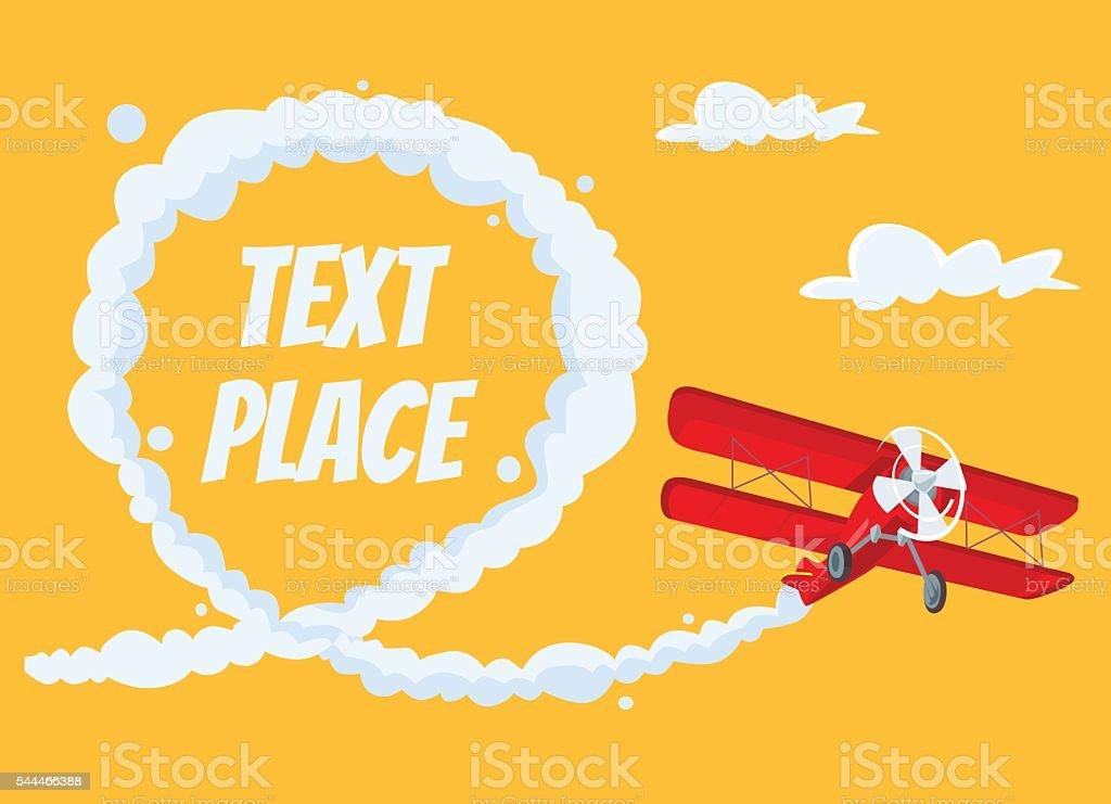 Airplane with speech bubble. Vector flat cartoon illustration vector art illustration
