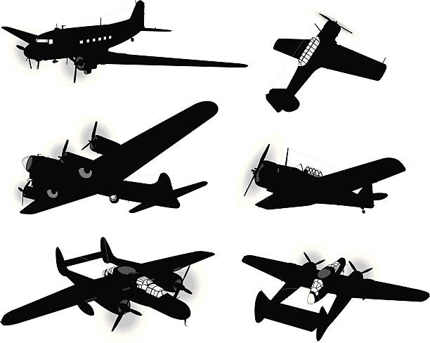 """US Airplanes, Air Force - Bombers and Trainers, Armed Forces Bombers. Tight silhouette illustrations of the American World War Two Air Force Bombers and Trainers war Planes. Layers names for easy identification. Check out my """"Mode of Transportation"""" light box for more. bomber plane stock illustrations"""