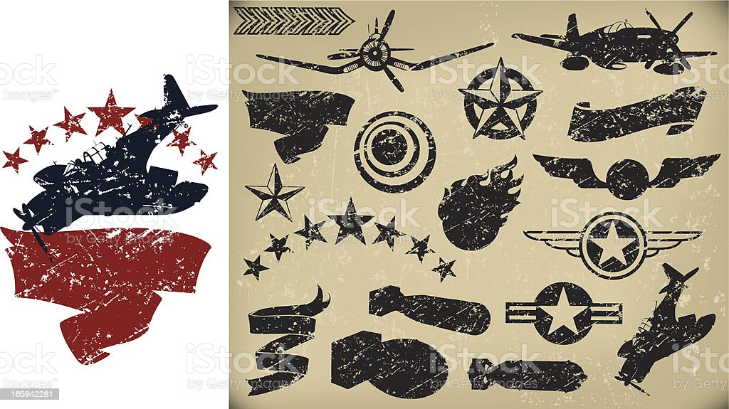 US Airplanes, AIr Force - Grunge Fighters, Banners. Stars royalty-free stock vector art