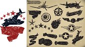US Airplanes, AIr Force - Grunge Fighters, Banners. Stars