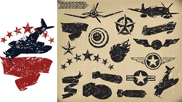 us airplanes, air force - grunge fighters, banners. stars - world war ii stock illustrations, clip art, cartoons, & icons