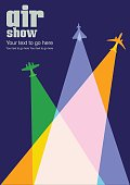 Colourful overlapping silhouettes of airplanes for Air Show poster.