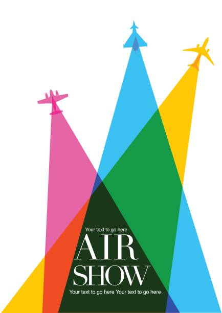 Airplanes \ Airshow poster Colourful overlapping silhouettes of airplanes for Air Show poster. aviation and environment summit stock illustrations