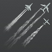Airplanes and military fighters with condensation smoky trail isolated vector collection