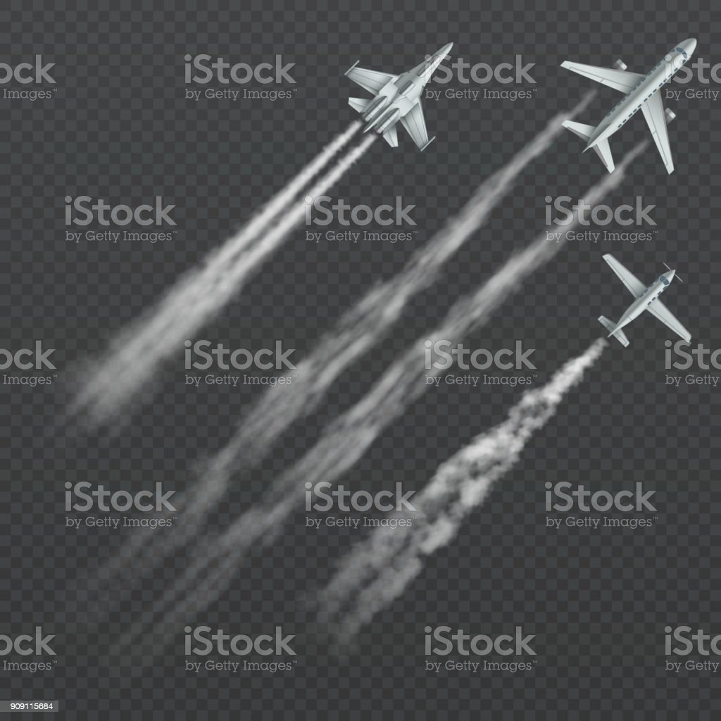Airplanes and military fighters with condensation smoky trail isolated vector collection vector art illustration