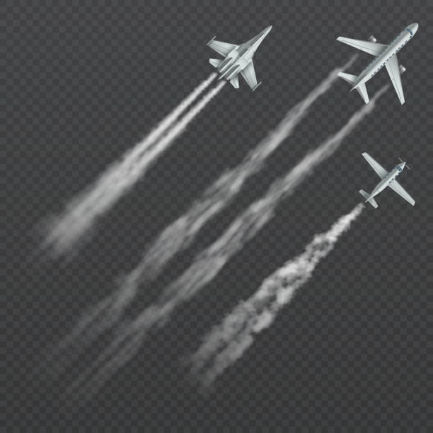 Airplanes and military fighters with condensation smoky trail isolated vector collection Airplanes and military fighters with condensation smoky trail isolated vector collection. Aviation aircraft flight, fighter in sky illustration air force stock illustrations