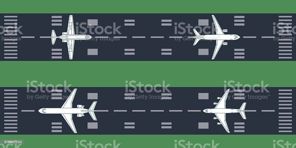 airplanes at runway vector art illustration