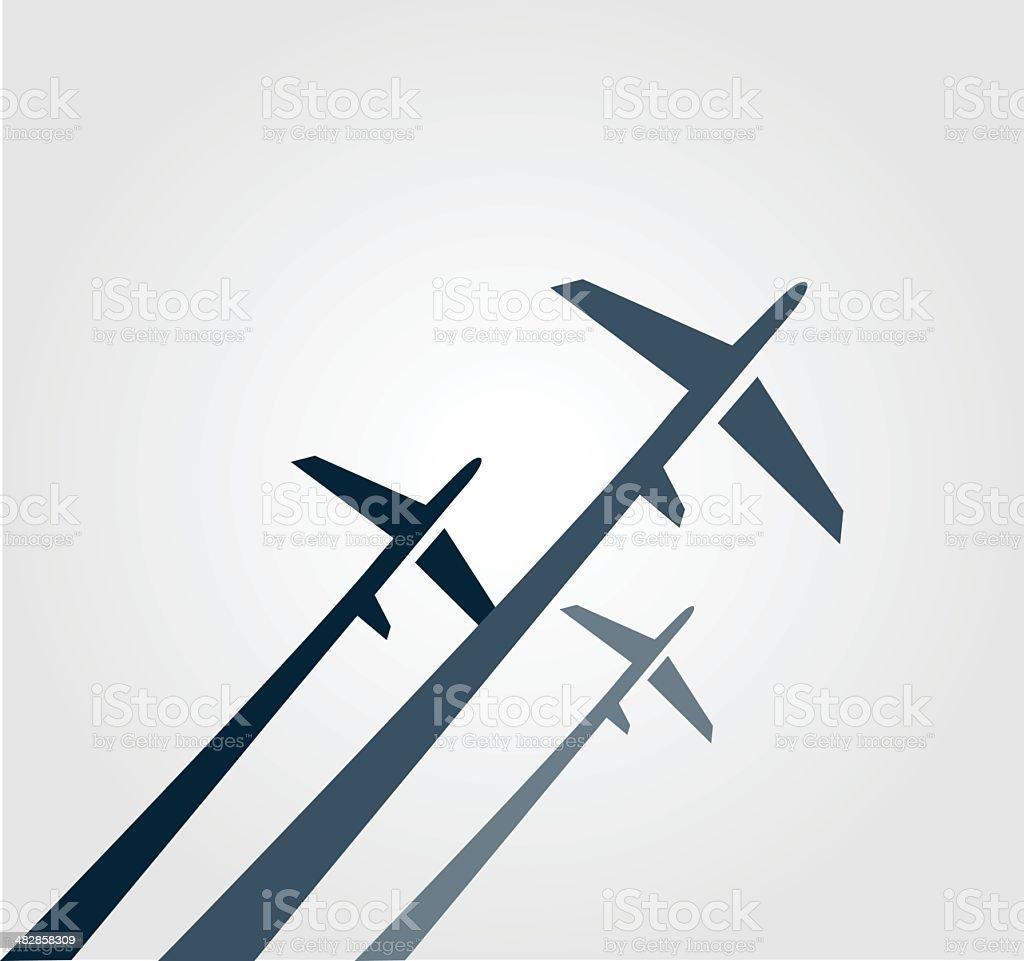 Airplanes background vector art illustration