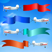 Aerial advertising airplanes parade flying giant colorful flags banners ads behind against blue sky realistic vector illustration
