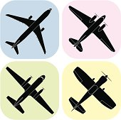 Airplanes (vector) design elements and symbols