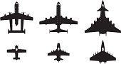 Airplanes silhouettes in evolution line. Cdr10, pdf and jpg in zip.