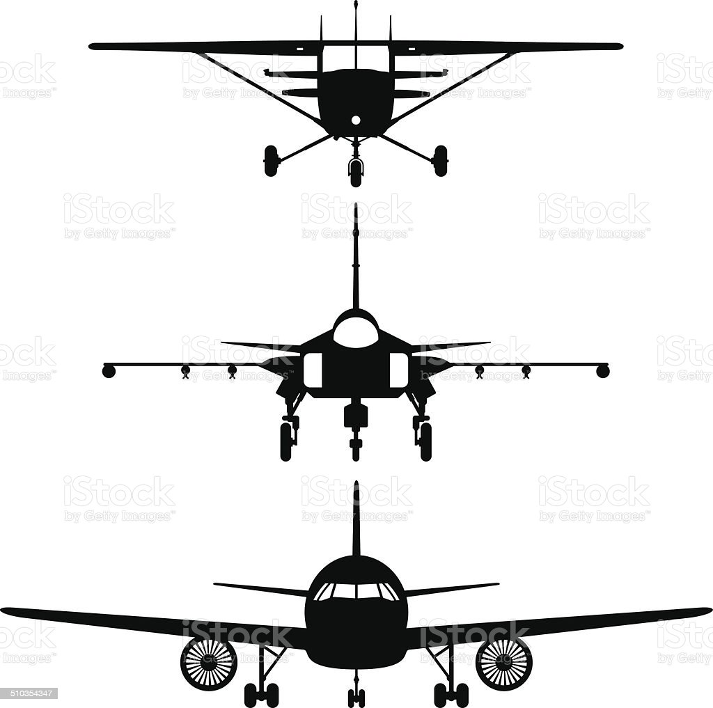 Airplanes frontviews silhouettes vector art illustration