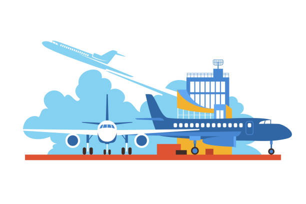 Airplanes on Airfield Vector Illustration Vector flat drawing on the air travel . Aircraft on the airfield. airport silhouettes stock illustrations