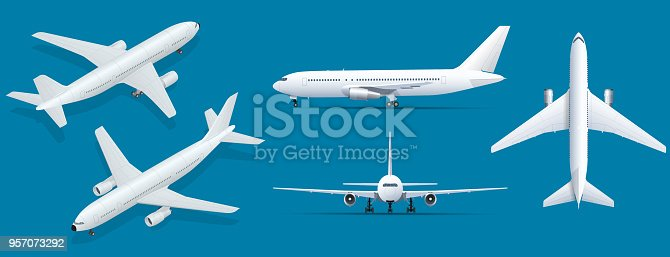 Airplanes on blue background. Industrial blueprint of airplane. Airliner in top, side, front view and isometric. Flat style vector illustration