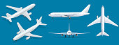 Airplanes on blue background. Industrial blueprint of airplane. Airliner in top, side, front view and isometric. Flat style vector illustration.