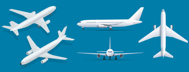 ilustraciones, imágenes clip art, dibujos animados e iconos de stock de aviones sobre fondo azul. modelo industrial del aeroplano. avión en parte superior, lateral, vista frontal e isométrico. ilustración de vector de estilo plano. - avión