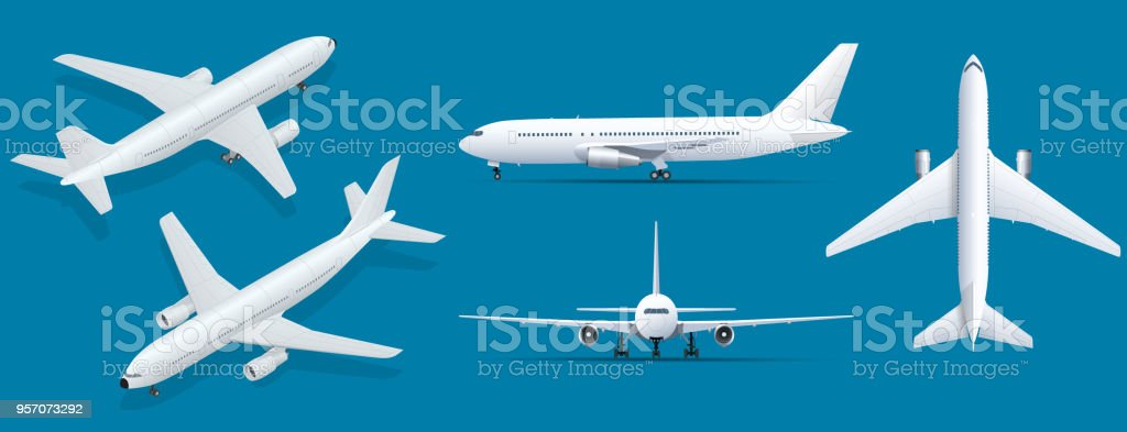 Airplanes on blue background. Industrial blueprint of airplane. Airliner in top, side, front view and isometric. Flat style vector illustration. vector art illustration