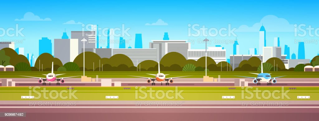 Airplanes Over Airport Building, Modern Terminal With Plane On Runway Waiting For Take Off Modern City Background vector art illustration