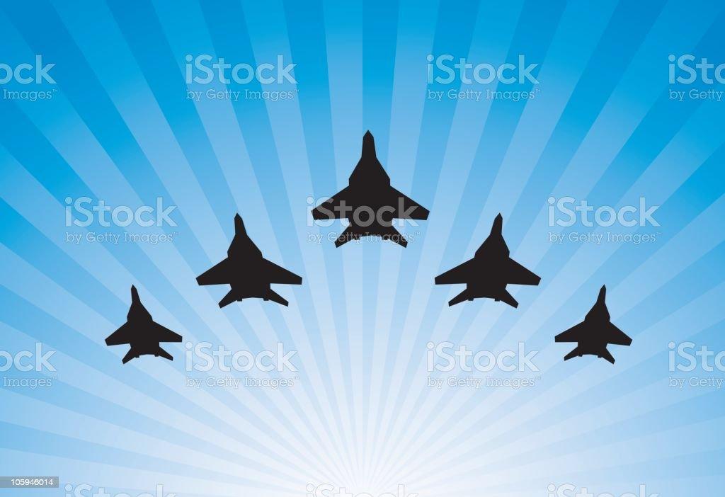 Airplanes parade vector art illustration