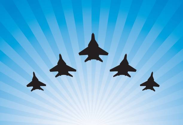 Airplanes parade Airplanes parade bomber plane stock illustrations