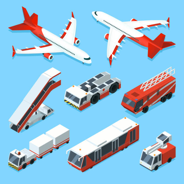 Airplanes set and other support machines in airport. Vector isometric illustrations of transport Airplanes set and other support machines in airport. Vector isometric illustrations of transport machine, aviation airplane, bus and car ladder airport clipart stock illustrations
