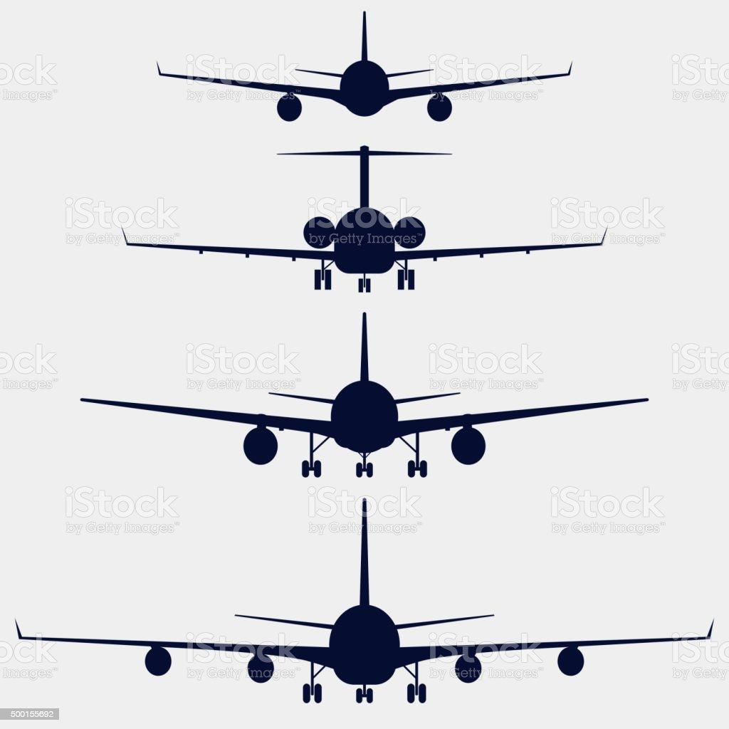 Ilustración de Aviones Silueta Vista De Frente y más banco de ...