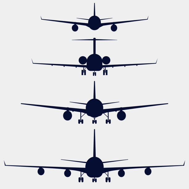 Airplanes silhouette front view Airplanes silhouette front view, aircraft vector icon set aviation and environment summit stock illustrations