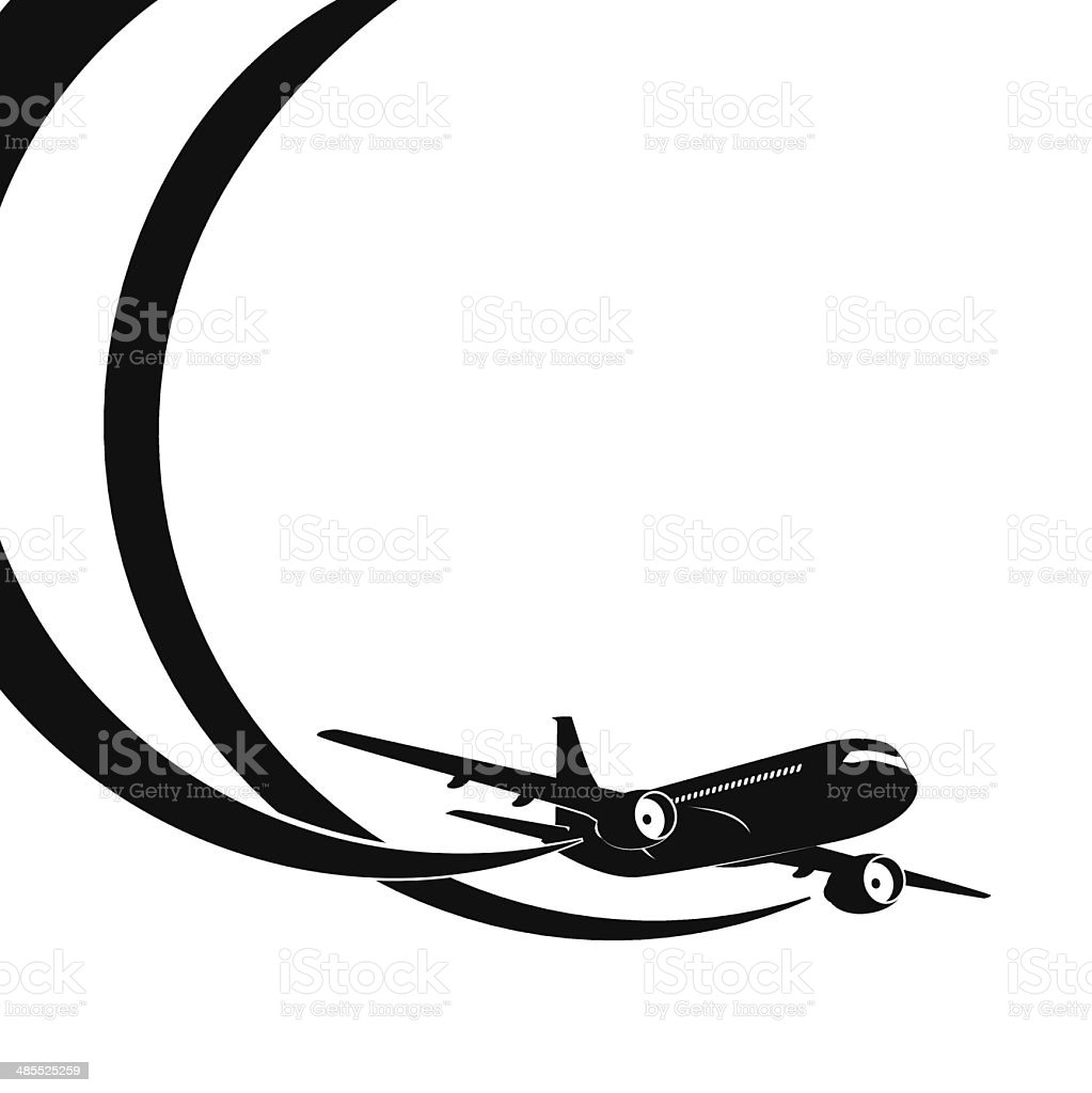 Airplane's silhouette on white background. vector art illustration