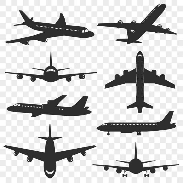 ilustraciones, imágenes clip art, dibujos animados e iconos de stock de conjunto de siluetas de aviones. plano silueta aislado sobre fondo transparente. aviones de pasajeros en diferentes ángulos. vectoriales eps 10. - avión