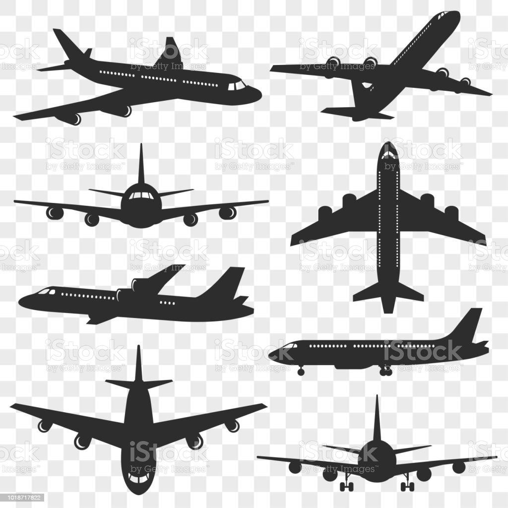 Airplanes silhouettes set. Plane silhouette isolated on transparent background. Passenger aircraft in different angles. Vector eps 10. vector art illustration