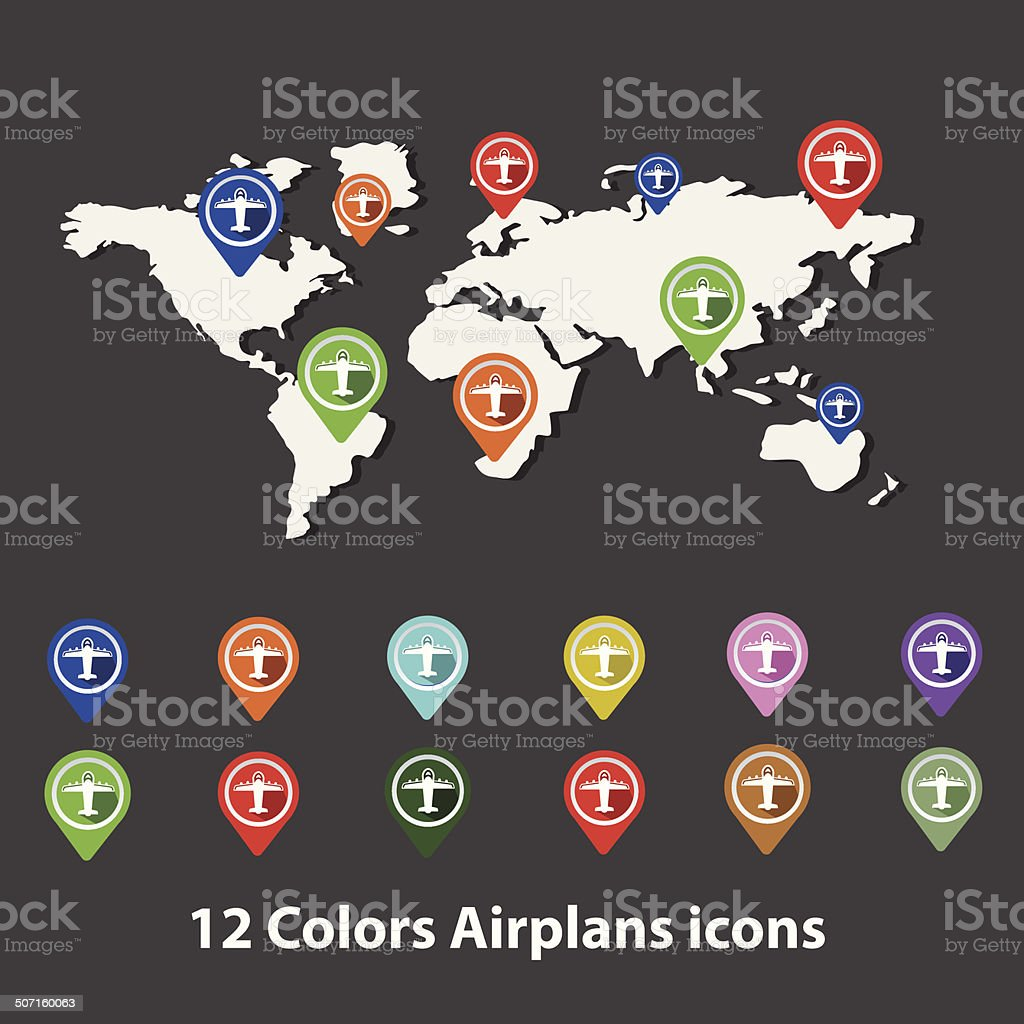 Airplanes symbol on Map,vector royalty-free stock vector art