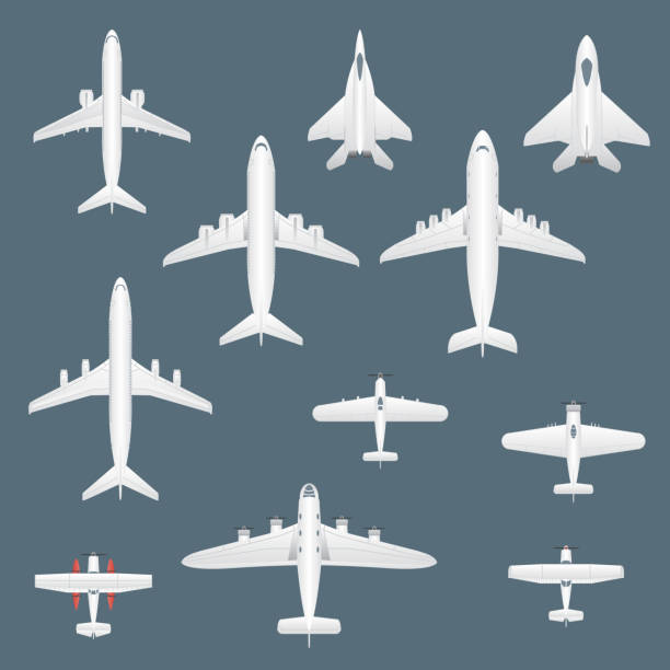 Airplanes top view set. Commercial, private, cargo and military airplanes icon set in top view. Vector. Airplanes top view set. Commercial, private, cargo and military airplanes icon set in top view. Vector. eps10. private airplane stock illustrations