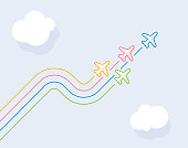 Four airplanes leave color wave traces. Directly above view to single line objects on clear blue sky background. Outline stroke 2px.