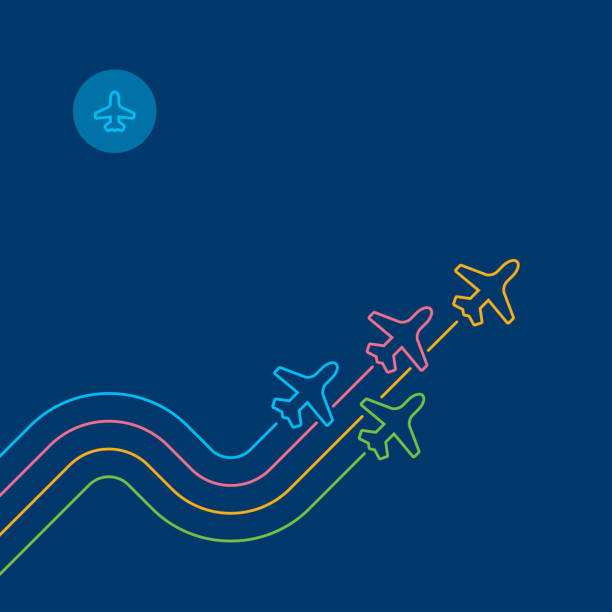 Airplanes trail on navy blue - Business travel concept Four airplanes leave color zigzag parallel traces. Directly above view to single line objects on navy blue background. Outline stroke 2px. Business flight concept illustration. airport designs stock illustrations