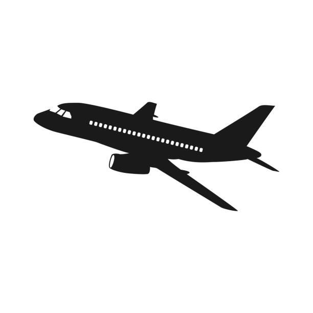 ilustraciones, imágenes clip art, dibujos animados e iconos de stock de icono vectorial de aviones sobre fondo blanco, vector de avión ilustración - avión