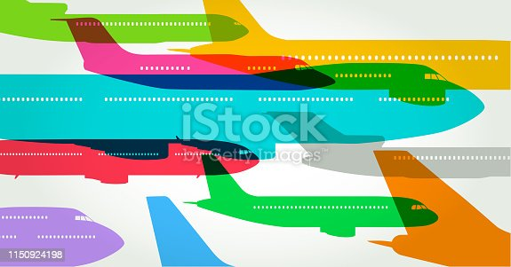 Colourful overlapping silhouettes of airplanes