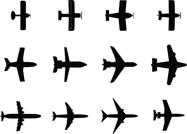 airplanes airplane silhouette private airplane stock illustrations