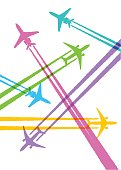 Colourful overlapping silhouettes of airplanes. EPS10 file, best in RGB.
