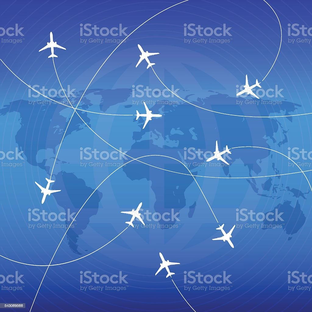 Airplanes with airplane stream jet and paths. vector art illustration