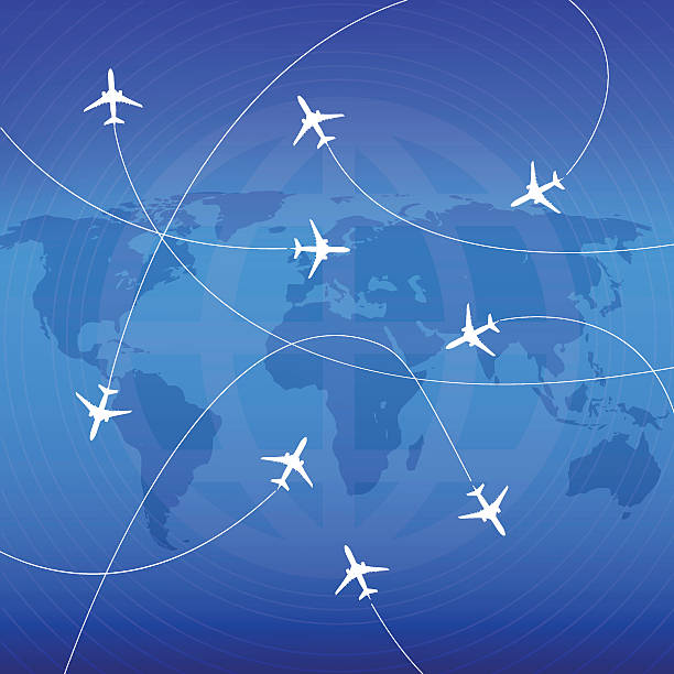 Airplanes with airplane stream jet and paths. Airplanes with airplane stream jet and paths. Illustration for   poster, print and web projects travel agencies, aviation companies. aviation and environment summit stock illustrations