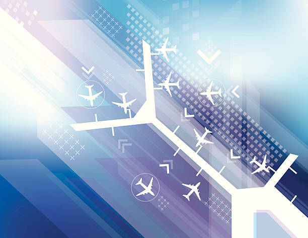 Airport abstract Vector of an urban airport scene with blue color background. airport backgrounds stock illustrations