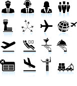 Airport air travel and business trip royalty free vector icons
