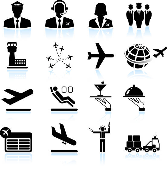 Airport air travel and business trip royalty free vector icons Airport Process black & white icon set airport icons stock illustrations
