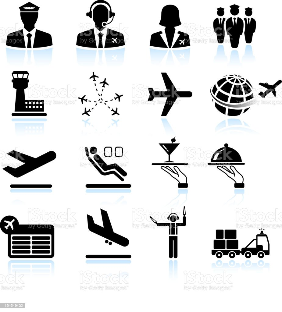 Airport air travel and business trip royalty free vector icons vector art illustration