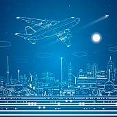 Airport, airplane fly, city infrastructure