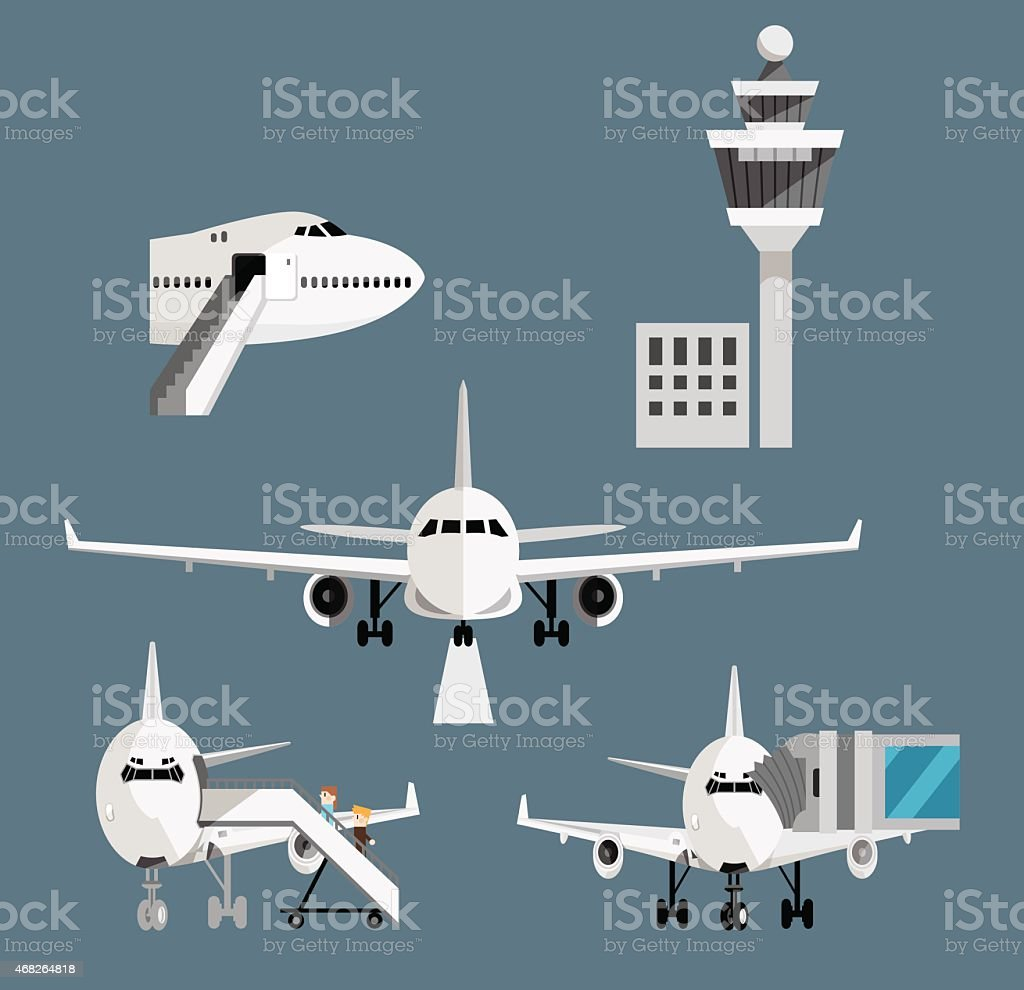 Airport airplane set vector art illustration