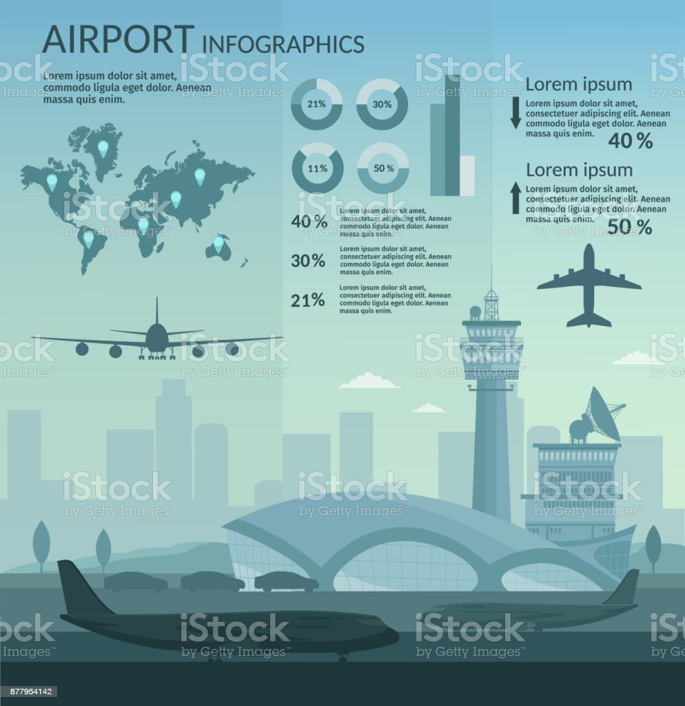 Airport and transportation airplane infographics objects vector art illustration