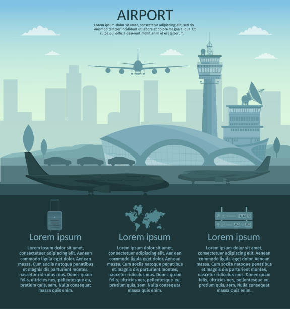 Airport and transportation airplane infographics objects Airport and transportation airplane infographics objects airport drawings stock illustrations