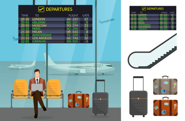 Airport and transportation airplane infographics objects Airport and transportation airplane infographics objects airport silhouettes stock illustrations